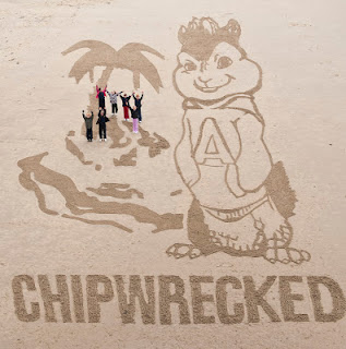 Chipmunks, Chipwrecked, Alvin, Blackpool, sand art