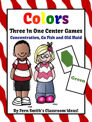 Fern Smith's Colors Math Center Card Games!