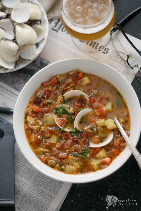This Manhattan Clam Chowder is laden with clams and chunks of potato ...