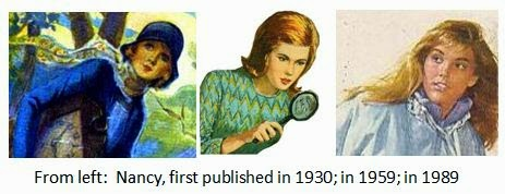 illustrations of Nancy Drew over the years