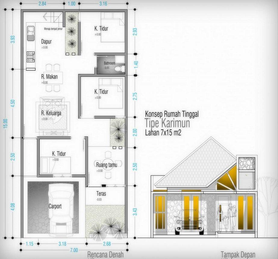 desain denah rumah tipe 60 idaman