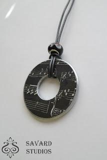 black sheet music, washer necklace