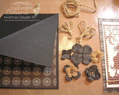 halloween twisted easel card  with petaloo flowers
