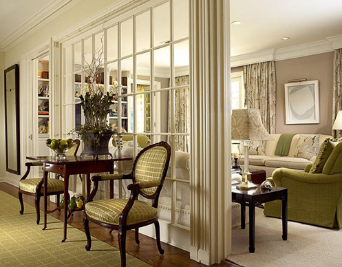 Kim Coleman Designed This Elegant Space Using A Pale Pea Green Against Taupe And Cream