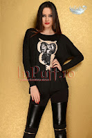Bluza neagra din lycra cu aplicatie din paiete in forma de bufnita