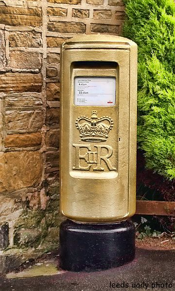 Gold Postbox Rawdon Leeds