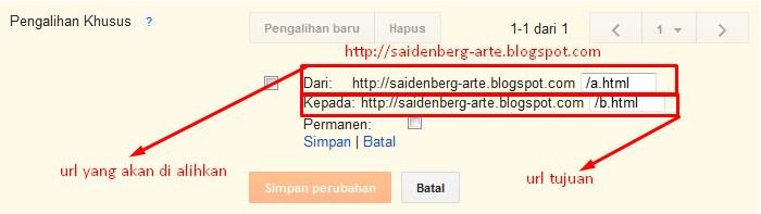 contoh cara mengalihkan url artikel atau url laman ke url artikel lain