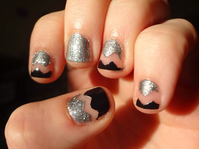 Black and silver chevron nails