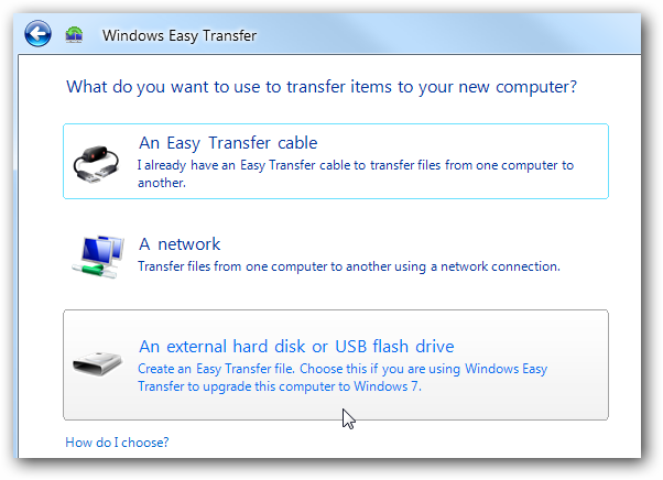 Windows Easy Transfer on Windows 7