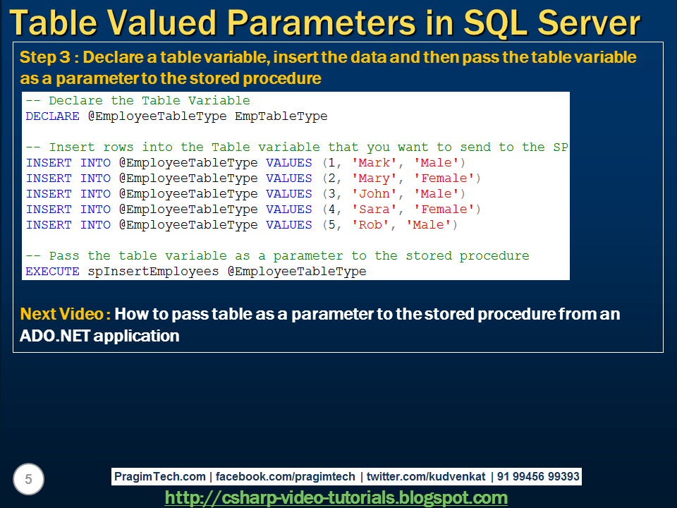Sql server net and c video tutorial table valued for Html table parameters