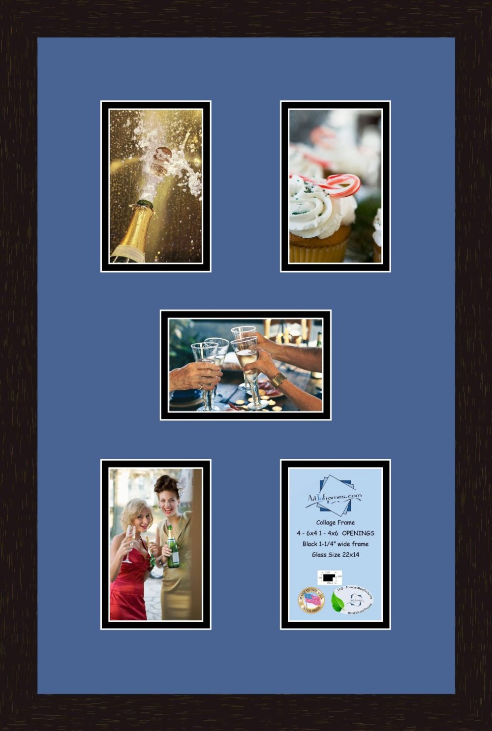 Collage Frame Photo Mat Double Mat with 4 - 5x7 and 1 - 7x5