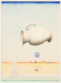 illustration by Romanian-born American cartoonist and illustrator saul steinberg of rain
