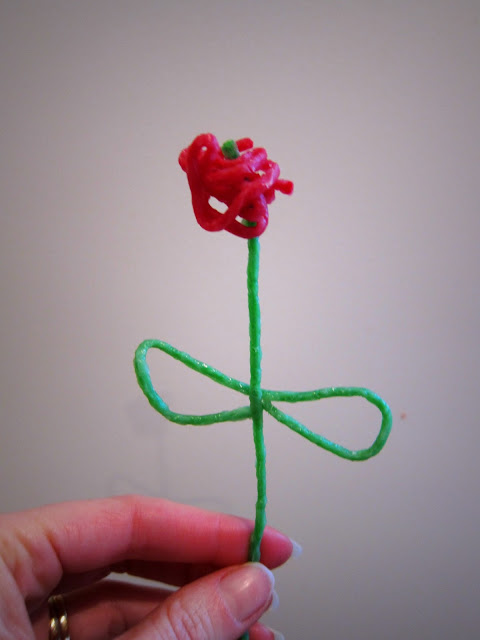 A free-hand rose made with Wikki Stix