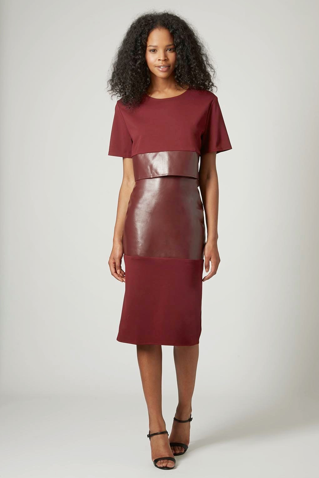 burgundy fake leather skirt, matching top and skirt topshop,