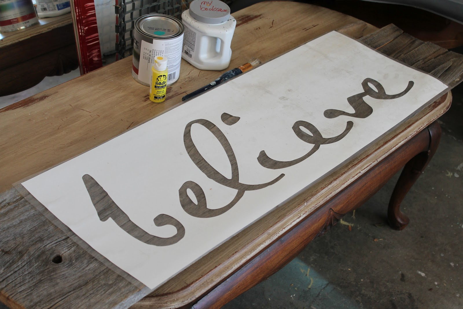 Word stenciling on salvaged wood the magic brush inc - Painting with stencils on wood ...