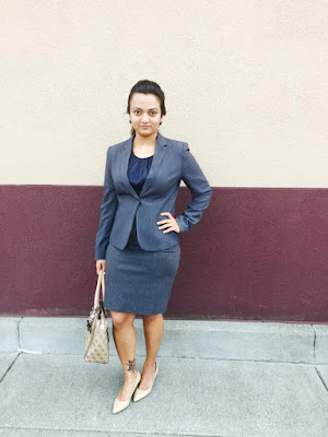 formal attire, grey formals, grey skirt with grey blazer, tan heels, ananya in formals, indian fashion blogger, ananya kiran, ananya tales