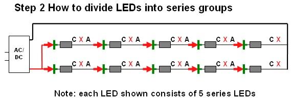 DIY Christmas lights Modify convert a 120VAC set of LED