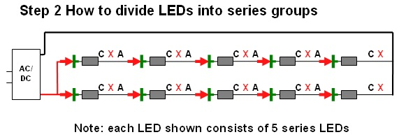 Diy christmas lights modify convert a 120vac set of led diy christmas lights asfbconference2016 Image collections