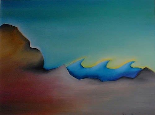 natura lago terra acqua dipinto pittura orme magiche quadro disegno pittura spirituale arte zen