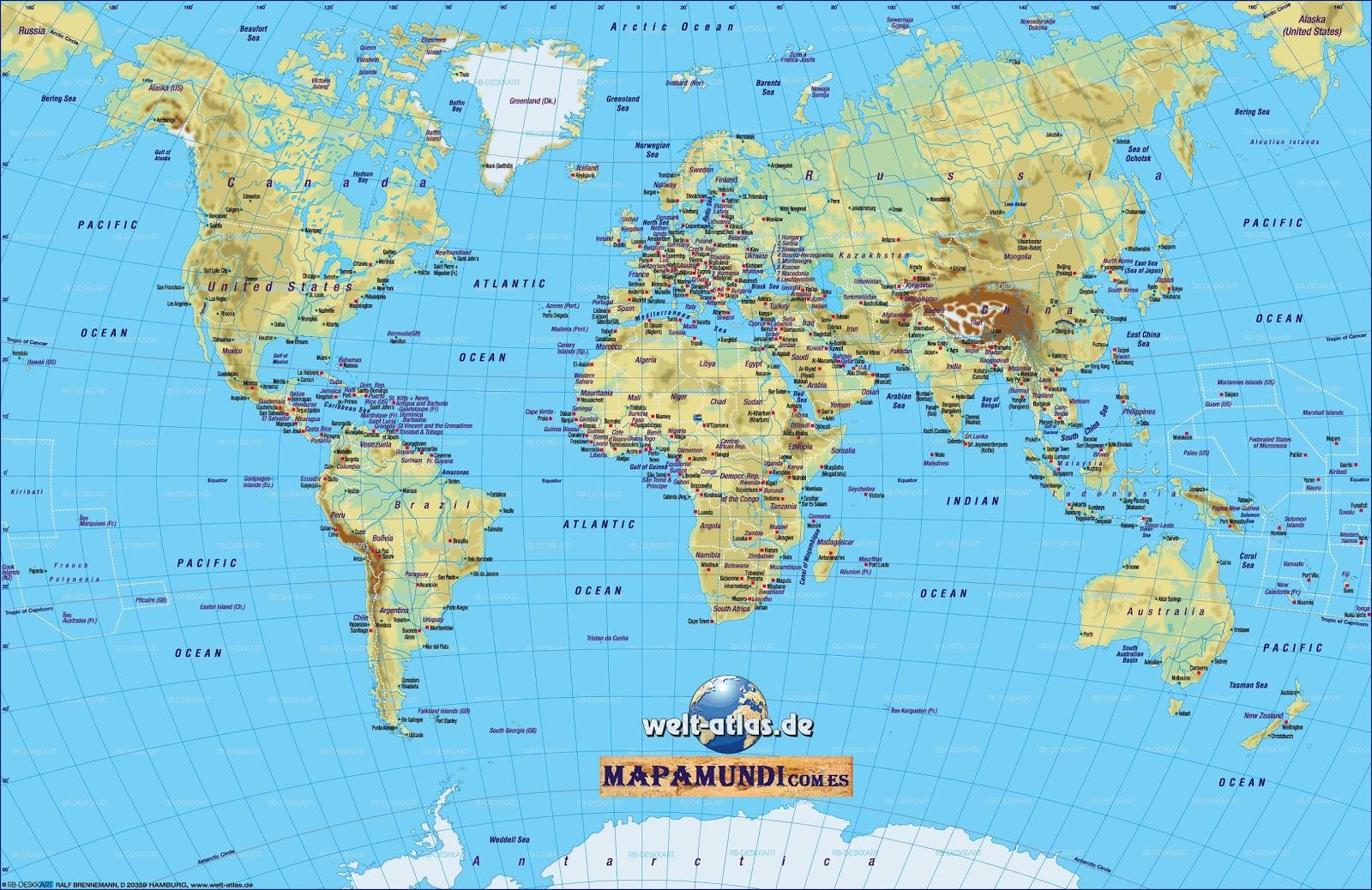 Mapamundi | Mapa del mundo fisico