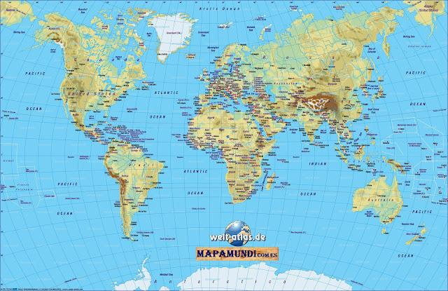 Mapamundi Mapa del mundo fisico
