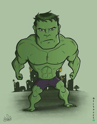 Caricatura Bobble Head do Hulk
