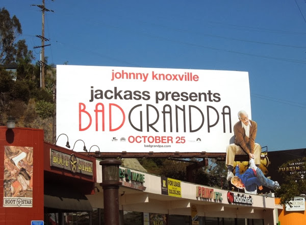 Jackass Bad Grandpa dangling kid stunt billboard