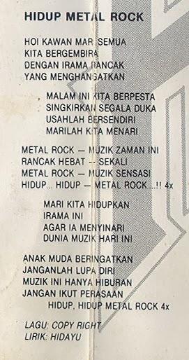 Lirik Hidayu Hidup Metal Rock