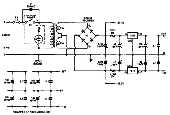 twin audio amplifier power supply circuit diagram