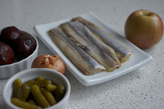 herring salad. the ingredients. matjes.