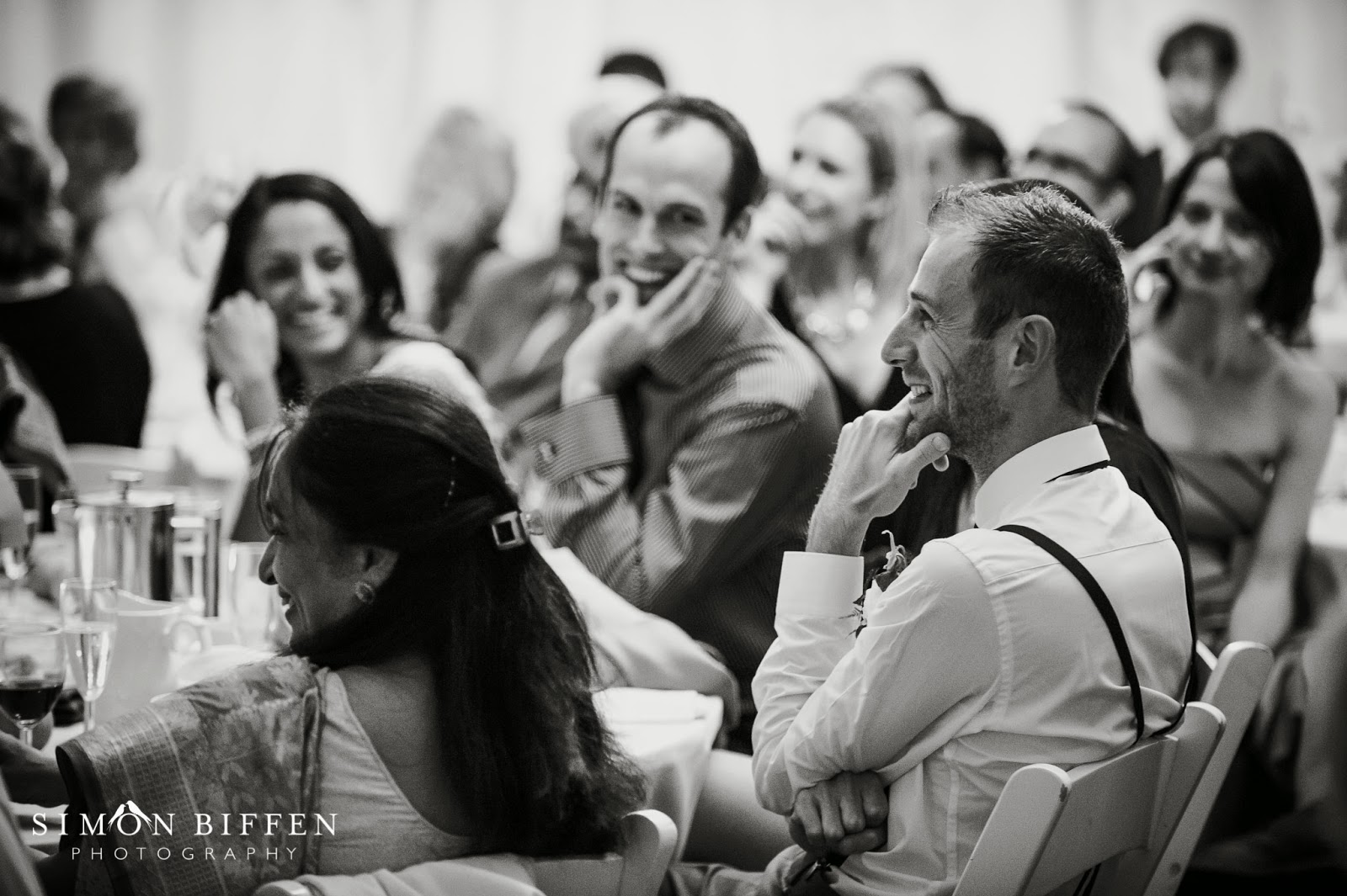 Guests reaction to speech at Quantock Lakes wedding