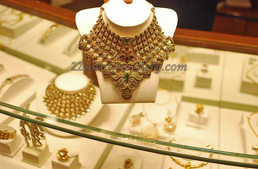 Gold Heavy Set And Long Chain With Kundan Work Jewellery