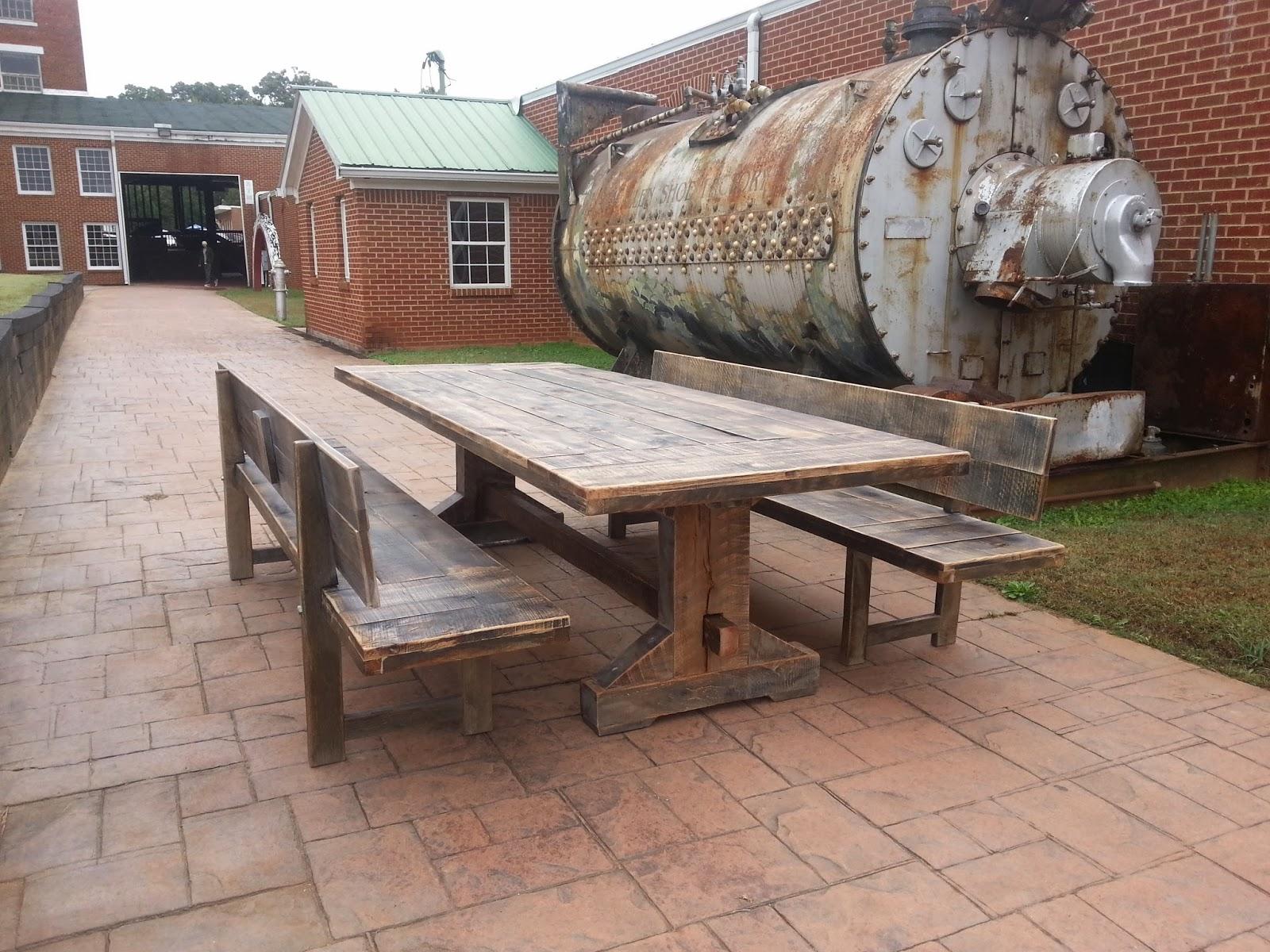 The Emerson Trestle Reclaimed Oak Atlanta Georgia Rustic Trades Furniture