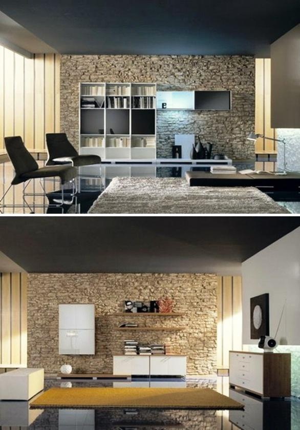 Salas con paredes de piedra ideas para decorar dise ar for Ideas para decorar paredes de sala