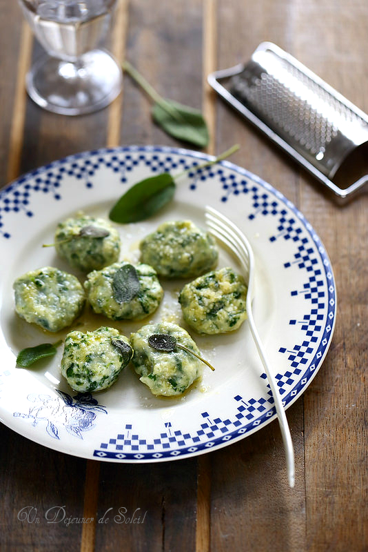 Gnudi (gnocchi de ricotta épinards typiques de Toscane)