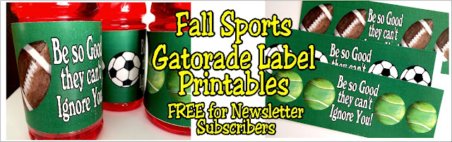 Inspire your favorite sports team with these printable Gatorade bottle labels.  You get 8 sports for all your fall teams as a fun way to celebrate your team.  Find printables for soccer, football, volleyball, cross country, cheer, tennis, band, and golf.