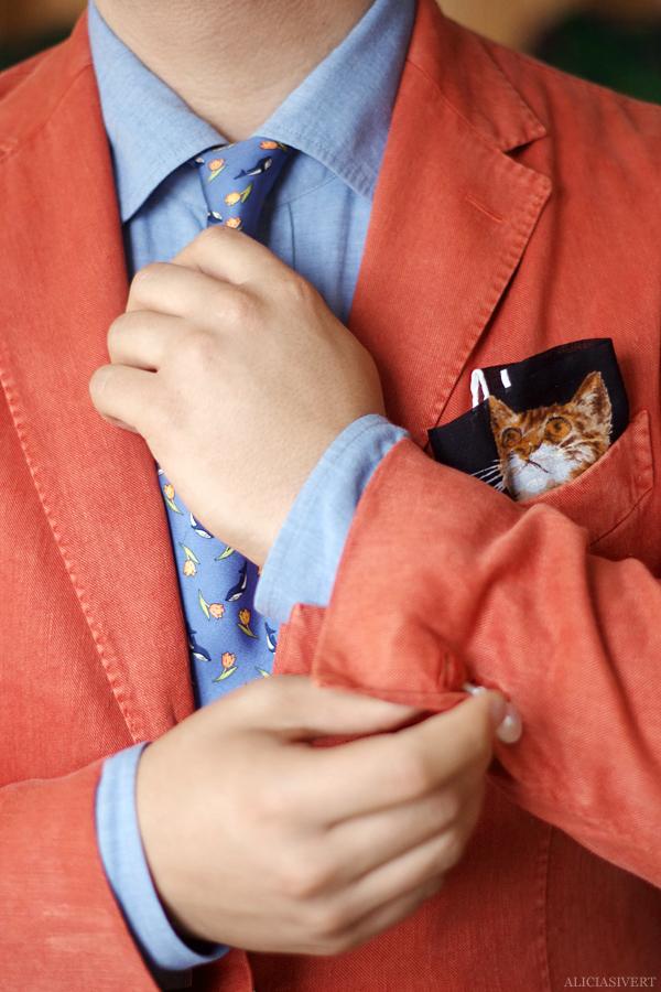 aliciasivert, alicia sivert, alicia sivertsson, andreas fagerström, outfit, kläder, clothes, clothing, kostym, kavaj, katt, bröstnäsduk, slips, valar, orange, Sprezzatura