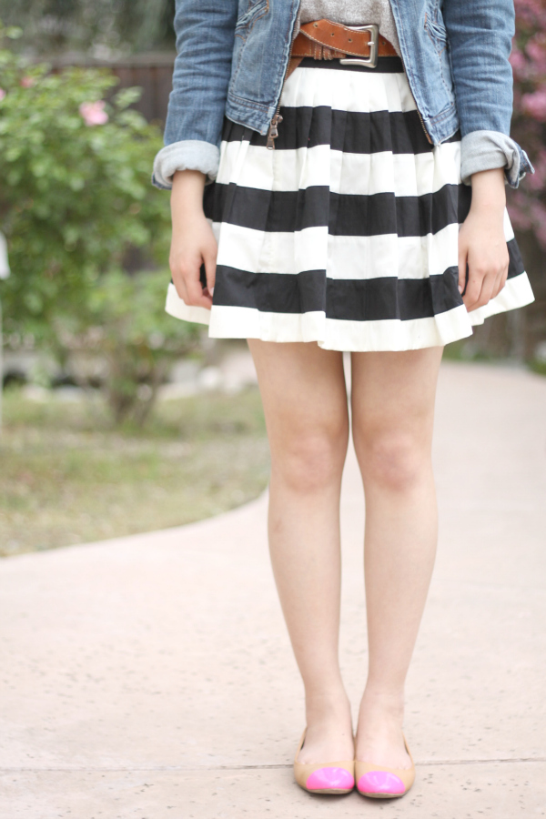 jean jacket stripe skirt outfit