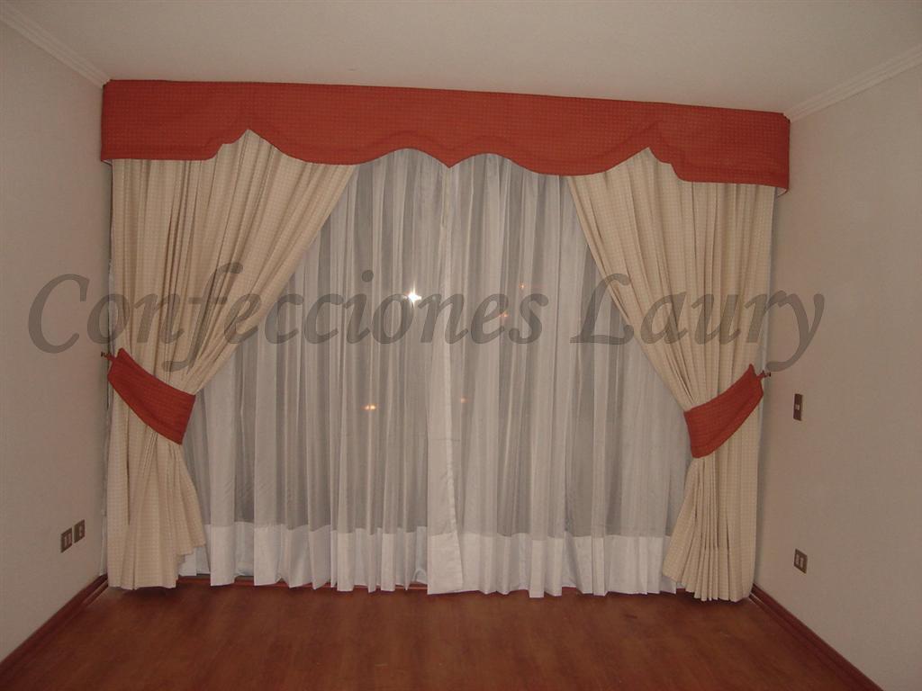 Cortinajes may laury cortinas para living y comedor for Modelos de cenefas para cortinas