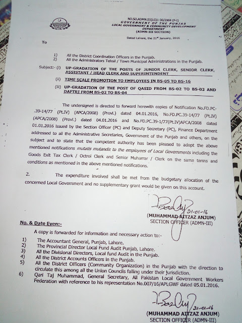 Up-Gradation of Clerical Posts 2016 Notification adopted by Local Government & Community Development Department Punjab