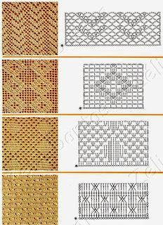 Pontos em crochê com gráfico para tapetes