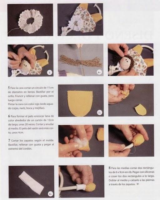 Bonequinhos de tecido passo a passo com moldes