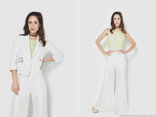 Moda primavera verano 2016 Trajes de mujer con palazzos. La Cofradía primavera verano 2016.