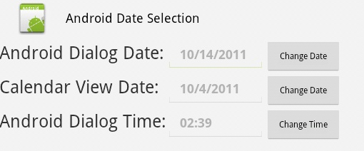Android DatePickerDialog TimePickerDialog and CalendarView widget