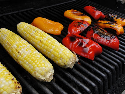 corn and peppers on the bbq