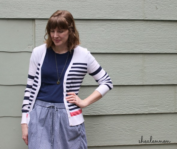 sporty feminine look with striped cardigan and chambray skirt | www.shealennon.com