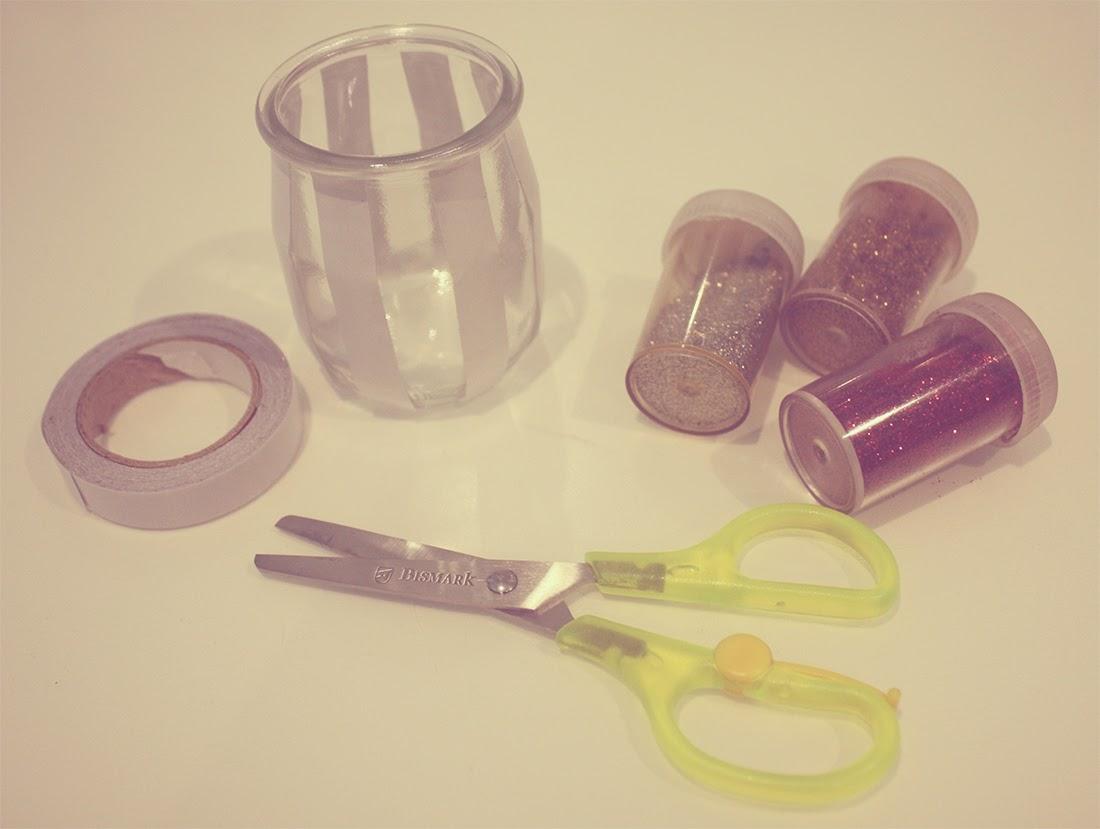 Portavelas de cristal con purpurina