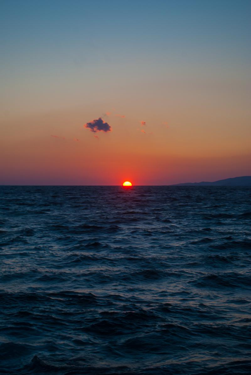 mykonos town, greece at sunset