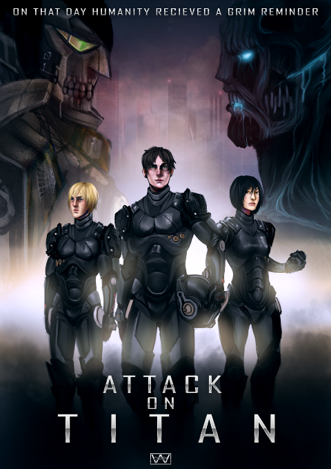 A Pacific Rim x Attack on Titan crossover fanart for the upcoming Cosplayer Expo in September