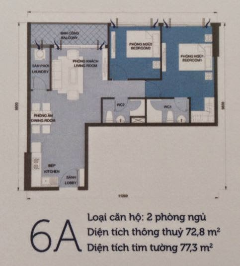 Căn hộ Vinhomes Central Park 6 - căn hộ số 6A - 77.3m2 - 2PN